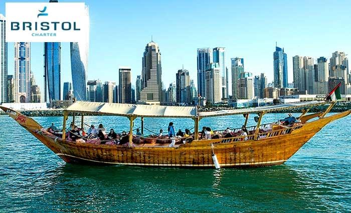 One Hour Captain Jack Dhow Cruise along Dubai Marina by Bristol Charter.