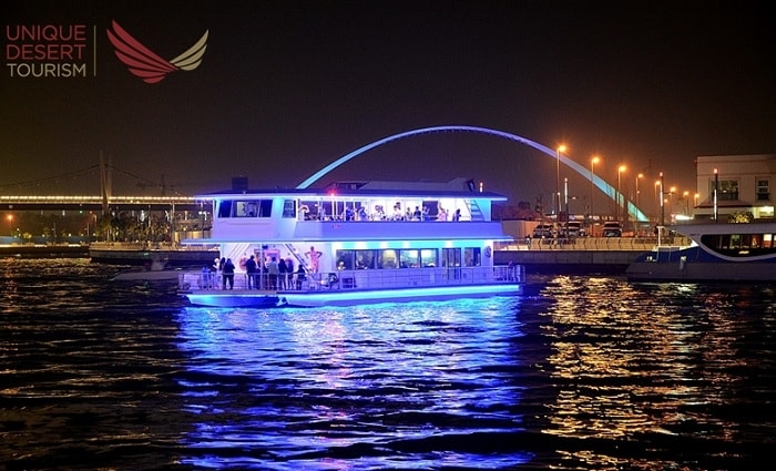 2 Hours Catamaran Dubai Water Canal Cruise with Five-Star Dinner Buffet plus Entertainment from Unique Desert Tourism.
