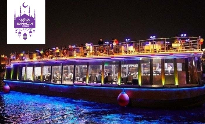 2 Hours Glass Boat Iftar Cruise along Dubai Creek from Oasis Palm Floating Restaurant.