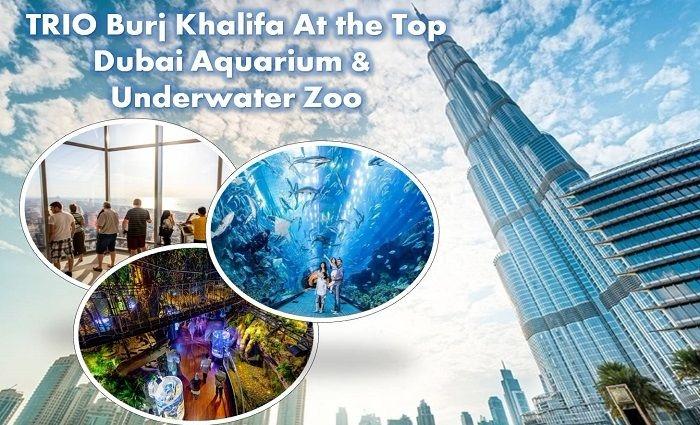 Trio Package Burj Khalifa, Dubai Aquarium, & Underwater Zoo tickets, from AED 149