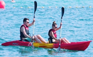 Try a single kayak or join up with friends on a double kayak or standup Paddling from AED 75 by Hydro Water Sports