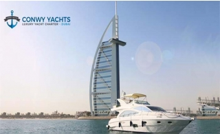 Private Luxurious Yacht Cruise along Dubai Water Canal up to Jumeirah, Burj Al Arab & Atlantis - The Palm  with Conwy Yachts Charter Majesty 57 Feet Luxurious Yacht.