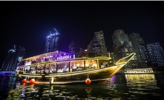 5* Dubai Marina Dinner Cruise with Full Course Buffet on Alexandra Dhow.