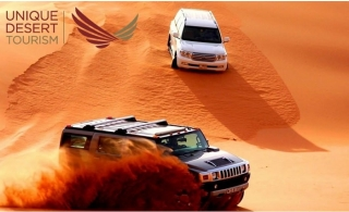 Hummer, Mercedes Benz & Land Cruiser Desert Safari with  Home/Hotel Pickup + International Buffet Dinner with Barbeque from Unique Desert Tourism.