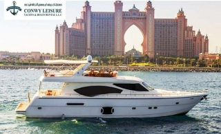 Luxurious Private 85 ft. Black Pearl Yacht for Rent for One, Two, Three or Four Hours up to 50pax, starting at AED 1299 by Conwy Leisure Yacht.