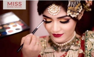 Bridal Hair and Make-up or Party Makeover at Miss Shine Ladies Salon-Ajman, from AED 150.
