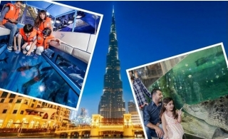 3 in 1 Burj Khalifa & EXPLORER Package Dubai Aquarium and Underwater Zoo.