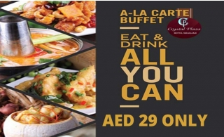 All you can Eat and Drink Dinner buffet with mixed grill at Crystal Plaza Hotel Sharjah for AED 29.