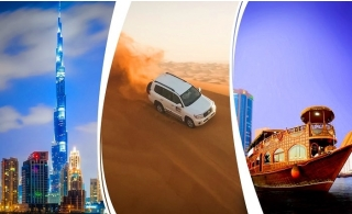 3-in-1 Dubai Discovery Tour Package – VIP 4x4 Desert Safari, Dubai City Tour and Dhow Cruise with Dinner, starting from AED 190 – All Options inclusive of Home or Hotel Pick-Up and Drop Off.