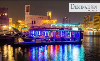 120-Minutes Creek Dhow Cruise with 4-star VIP International Buffet for AED 65 only from Destination MiddleEast.