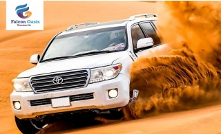 Go for an evening desert safari with BBQ dinner, entertainment and transportation options from Falcon Oasis Tourism.