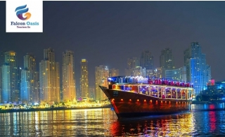 2 Hours Private Dubai Marina Dhow Cruise 20 Pax from Falcon Oasis.
