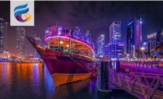 2-Hour Cruise along Dubai Marina with Dinner from Falcon Oasis.