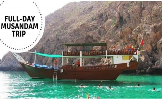 Full-Day Musandam Dibba Oman Trip on a Traditional Omani Dhow - Swimming, Snorkeling, Fishing with Buffet Lunch & more, from AED 90