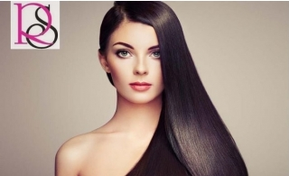 Silky smooth hair with Keratin treatment with haircut from Ravishing Ladies Salon for AED 299.