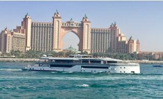 Megayacht Desert Rose Dinner Cruise along Burj Al Arab, JBR, Marina, Palm, Blue Waters & Atlantis.