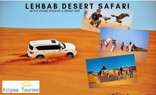 Experience a luxurious desert safari at the Lehbab Camp with BBQ dinner, dune bashing, entertainment & more, for AED 110 by Eclipse Tourism