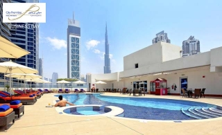 A refreshing swimming pool acces with value voucher to spend on FnB at City Premiere Hotel Apartment, Business Bay, and Starting at AED 49