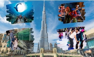 Dubai Mall's Best Tour Package 5in1 deal: Burj Khalifa, Dubai Aquarium & Underwater Zoo, VR Park and Ice Rink