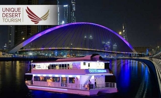 2 Hours Catamaran Five-Star Dubai Water Canal Cruise with dinner buffet, entertainment, from AED 79 from Unique Desert Tourism.