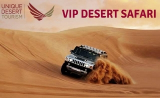 Luxurious 4x4 VIP Home/Hotel Pickup Desert Safari  + BBQ Dinner + Dune Bashing + Entertainment  & more, for AED 125 by Unique Desert Tourism.